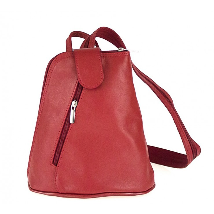 Leather backpack 1083 red Made in Italy