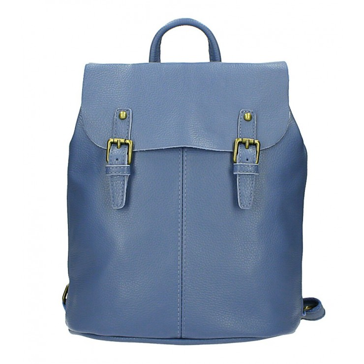 Leather backpack MI202 azure blue Made in Italy