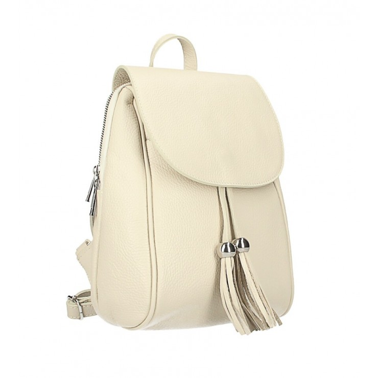 Leather backpack MI228 beige Made in Italy