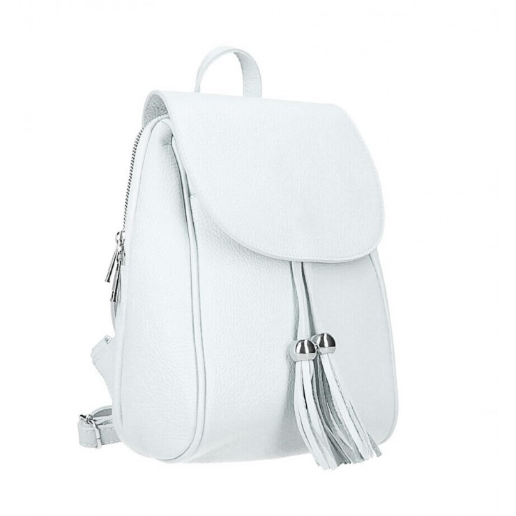 Leather backpack MI228 white Made in Italy