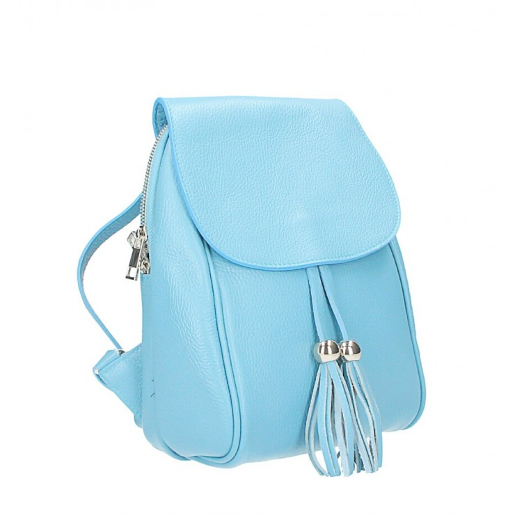 Leather backpack MI228 light blue Made in Italy