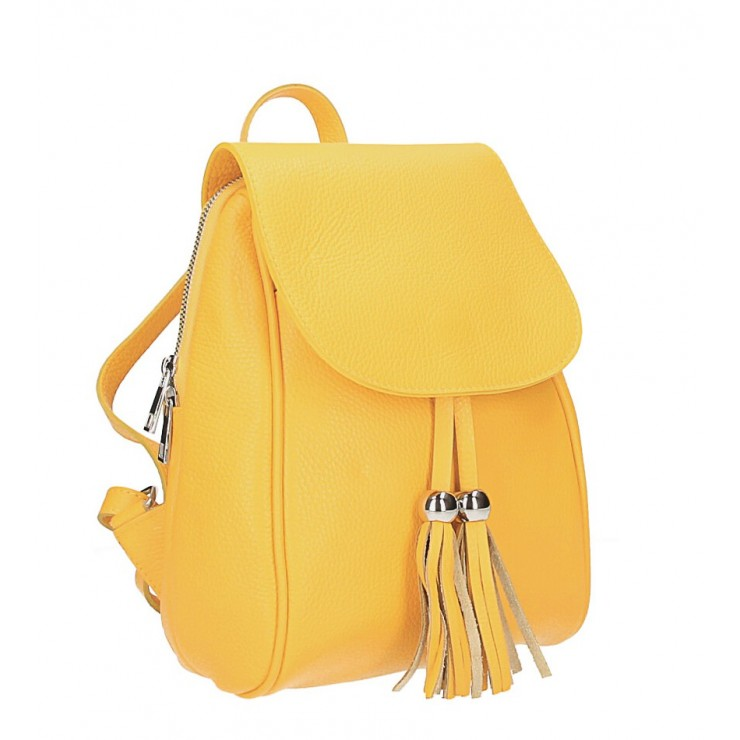 Leather backpack MI228 yellow Made in Italy