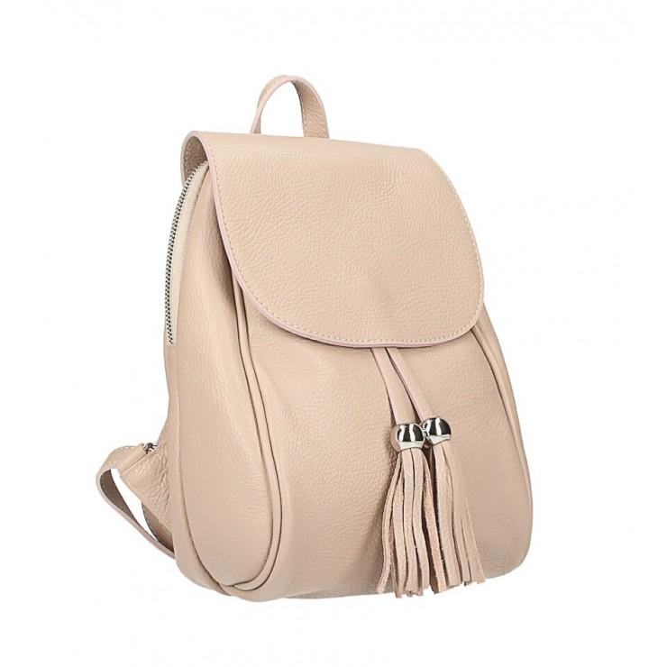 Kožený batoh MI228 pudrově růžový Made in Italy
