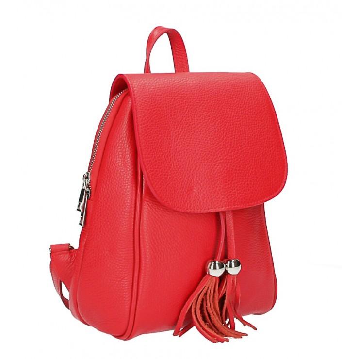 Leather backpack MI228 red Made in Italy