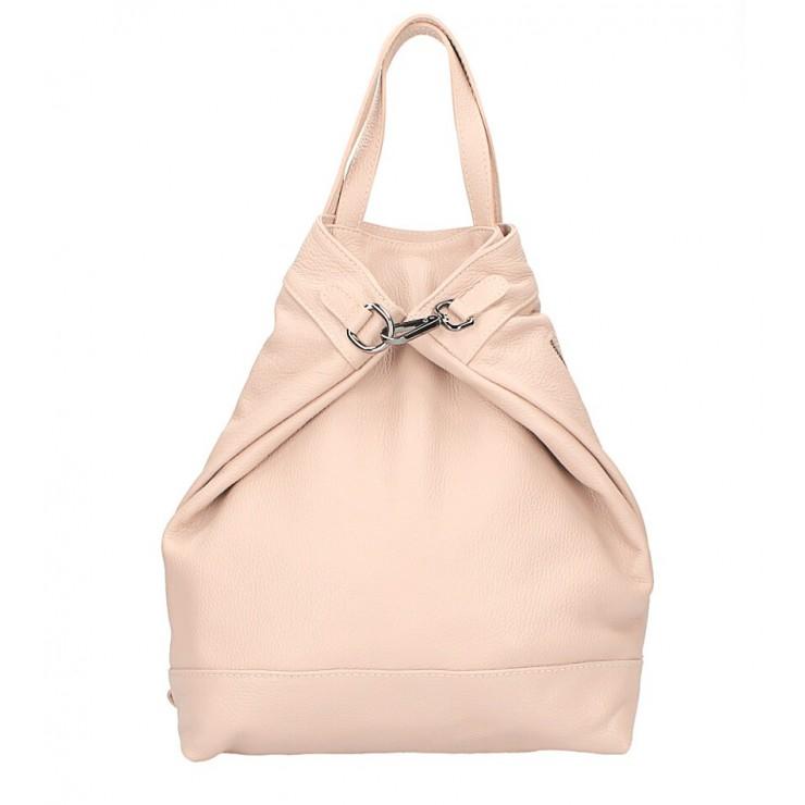 Kožený batoh MI344 pudrově růžový Made in Italy