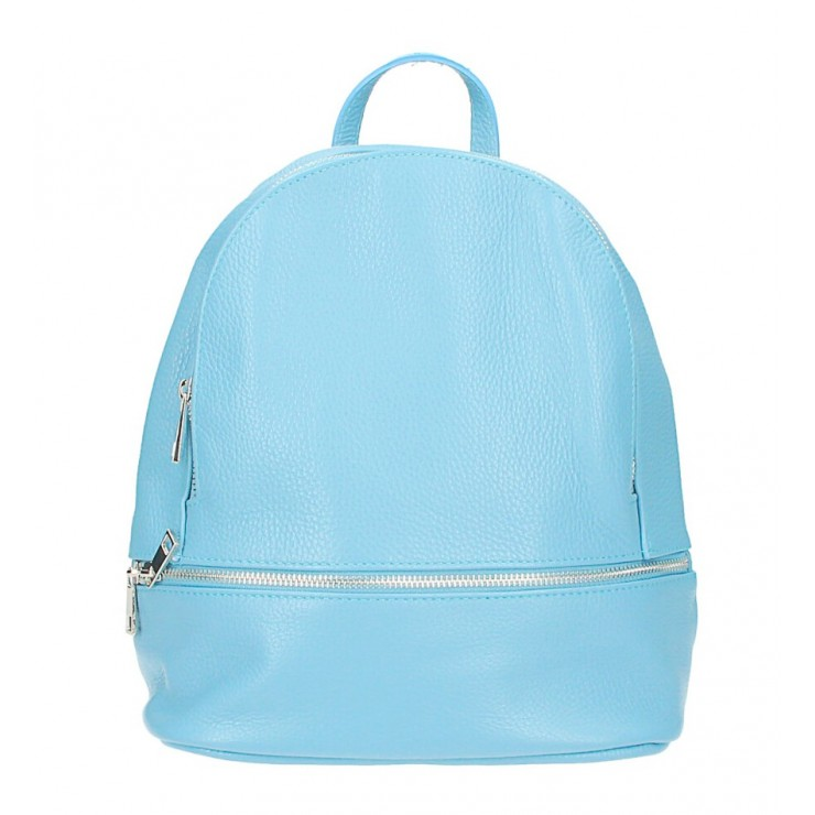Leather backpack MI1084 light blue Made in Italy