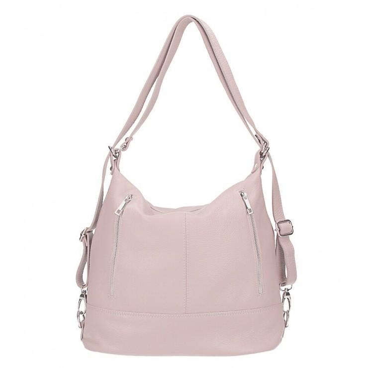 Dámska kožená kabelka/batoh MI258 pudrovo ružová Made in Italy