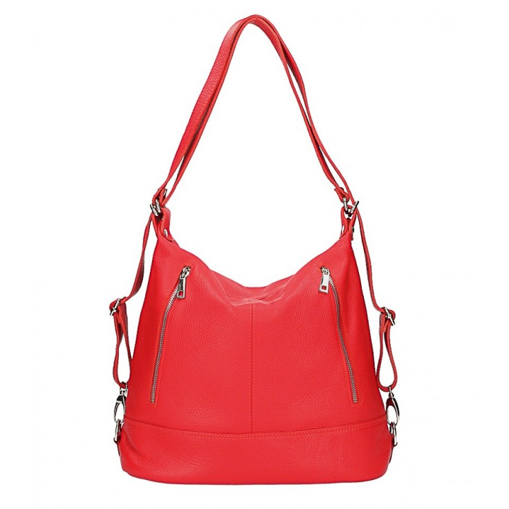 Dámska kožená kabelka/batoh MI258 červená Made in Italy