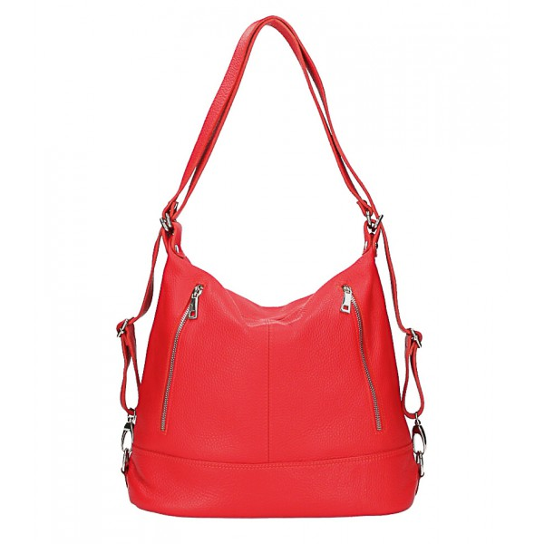 Dámska kožená kabelka/batoh MI258 červená Made in Italy Červená
