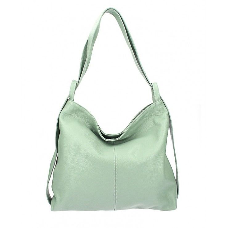 Leather shoulder bag MI357 mint Made in Italy