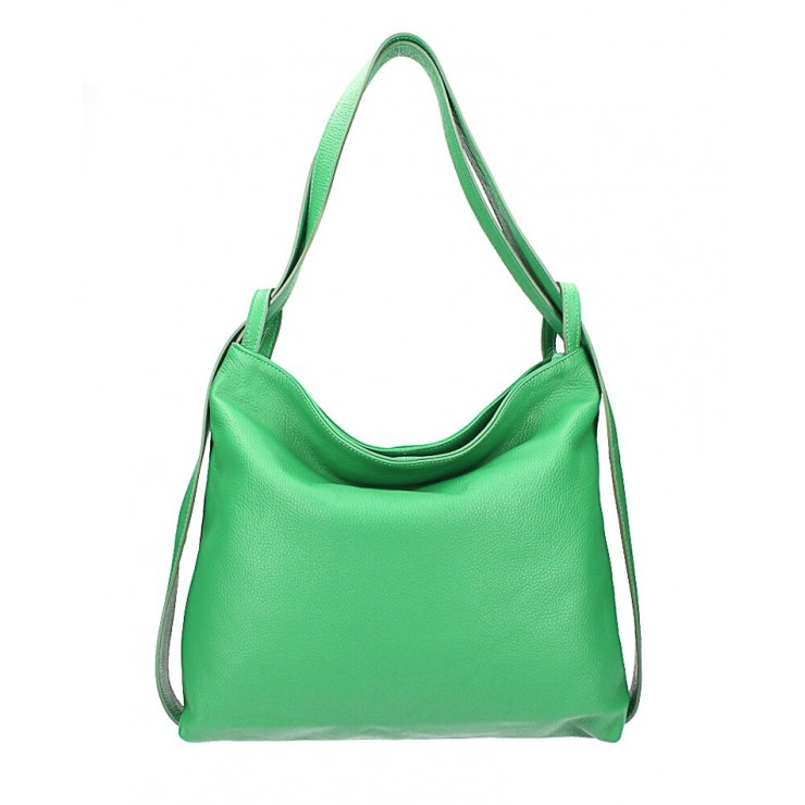 Leather shoulder bag MI357 green Made in Italy