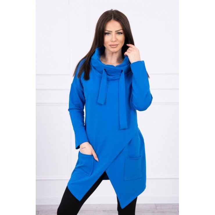 Tunic with envelope front oversize MI0017 azure blue