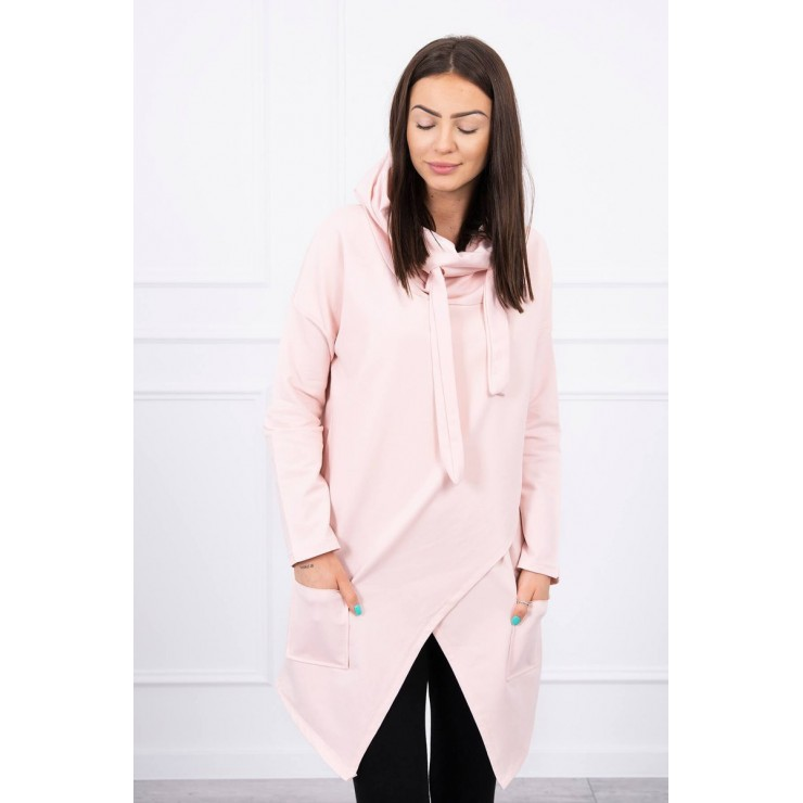 Tunic with envelope front oversize MI0017 powder pink
