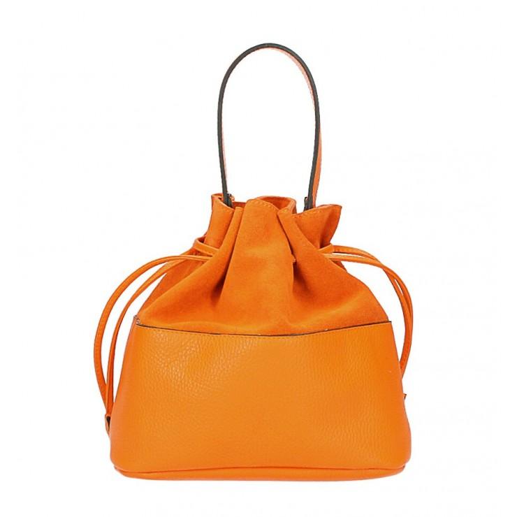Kožená kabelka ve tvaru pytle 645 oranžová Made in Italy