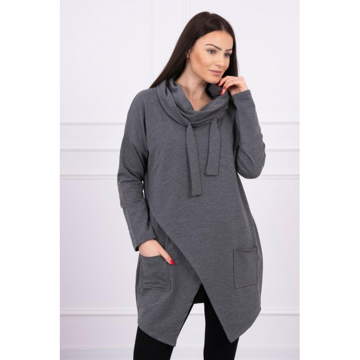 Tunic with envelope front oversize MI0017 graphite