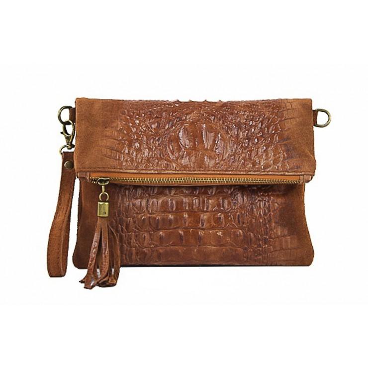 Kožená kabelka krokodíl 630 hnedá
