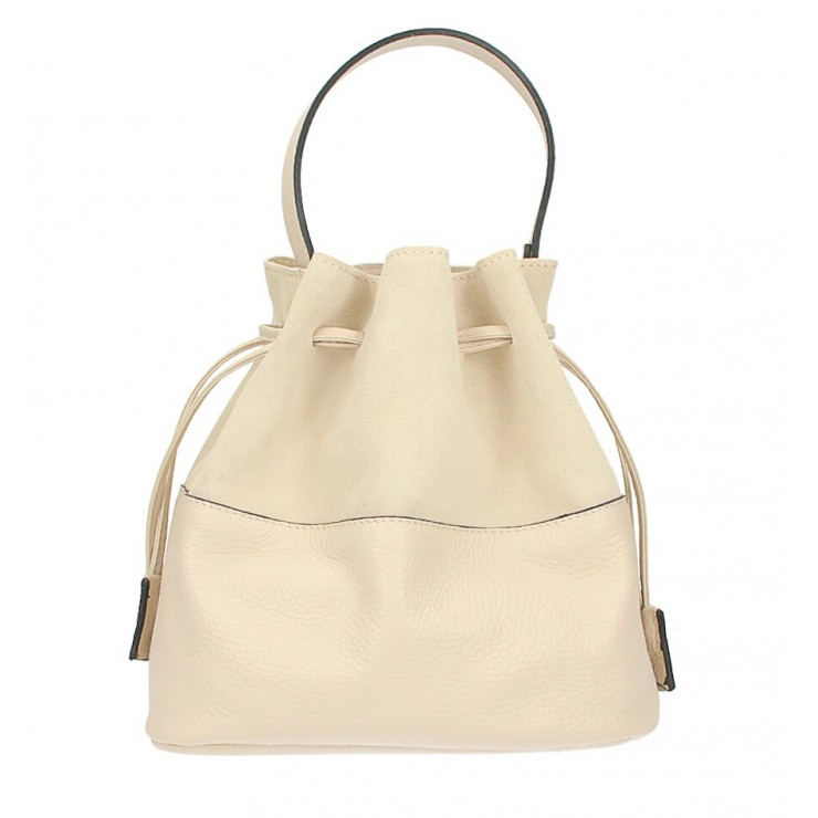 Genuine leather bucket bag 645 beige Made in Italy