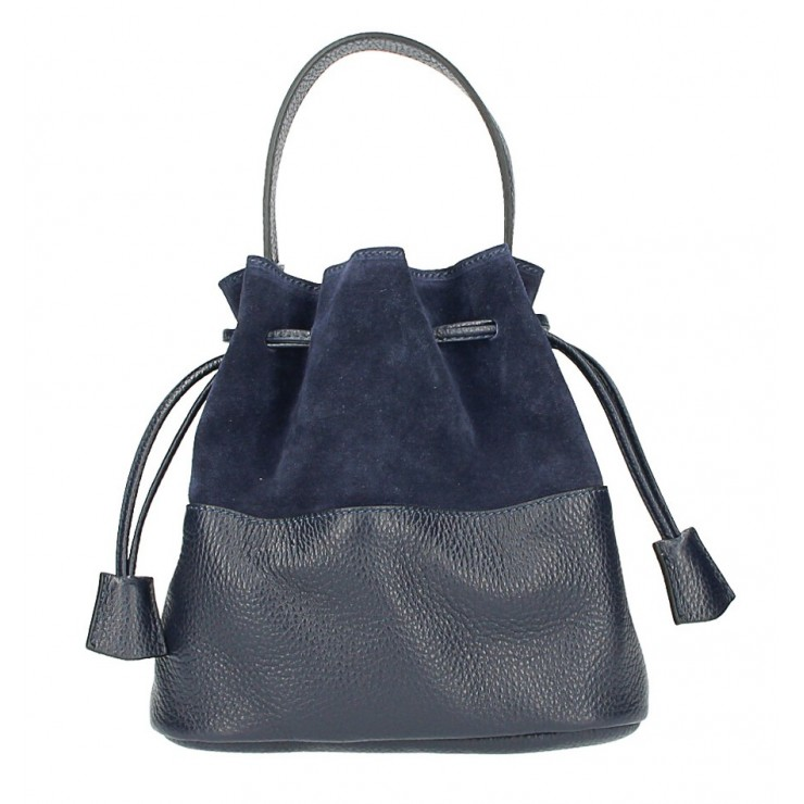 Genuine leather bucket bag 645 dark blue Made in Italy