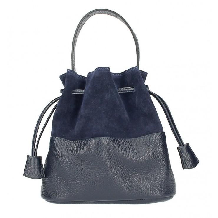 Kožená kabelka ve tvaru pytle 645 tmavě modrá Made in Italy