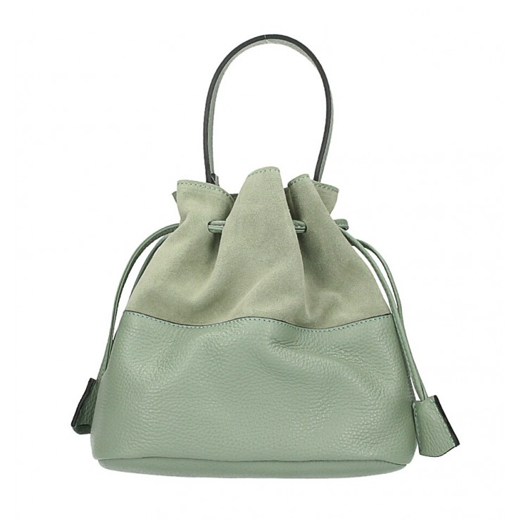Genuine leather bucket bag 645 green mint Made in Italy