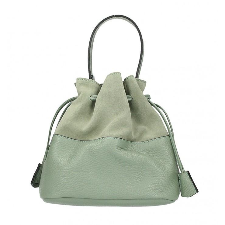 Kožená kabelka ve tvaru pytle 645 mentolová Made in Italy