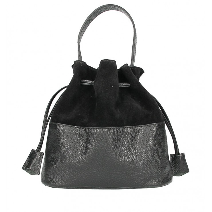 Genuine leather bucket bag 645 black Made in Italy