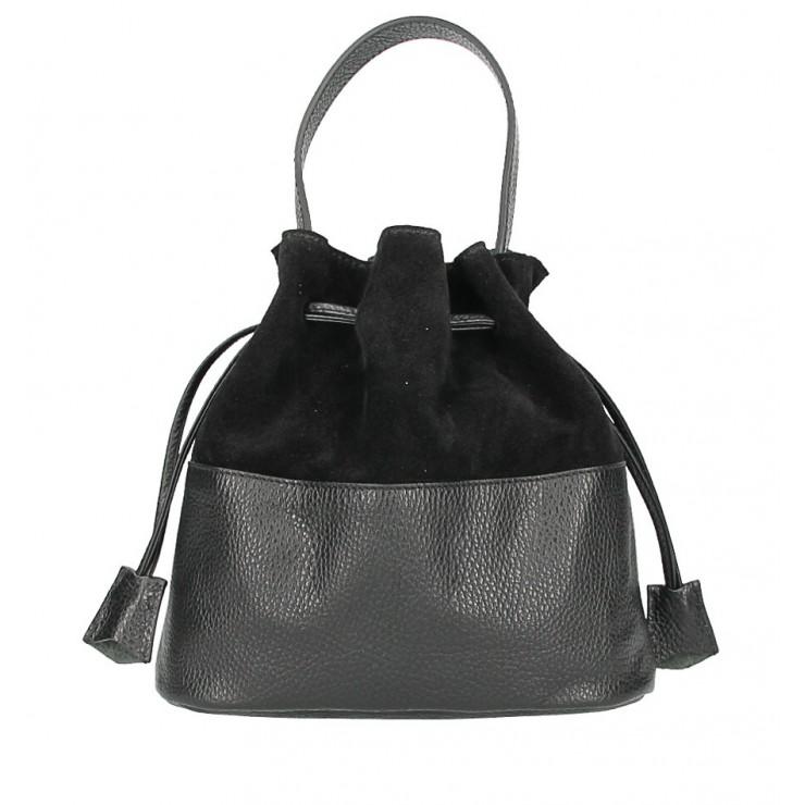 Kožená kabelka v tvare vačku 645 čierna Made in Italy