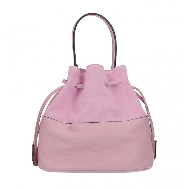 Genuine leather bucket bag 645 pink Made in Italy