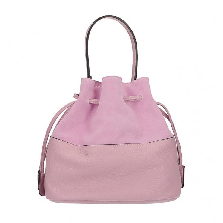Kožená kabelka ve tvaru pytle 645 růžová Made in Italy