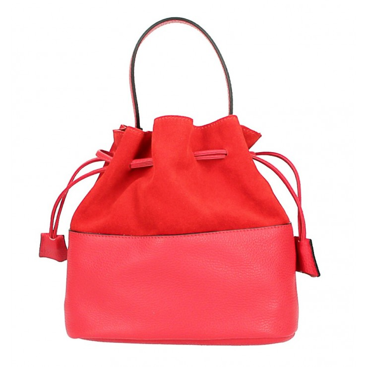 Kožená kabelka v tvare vačku 645 červená Made in Italy