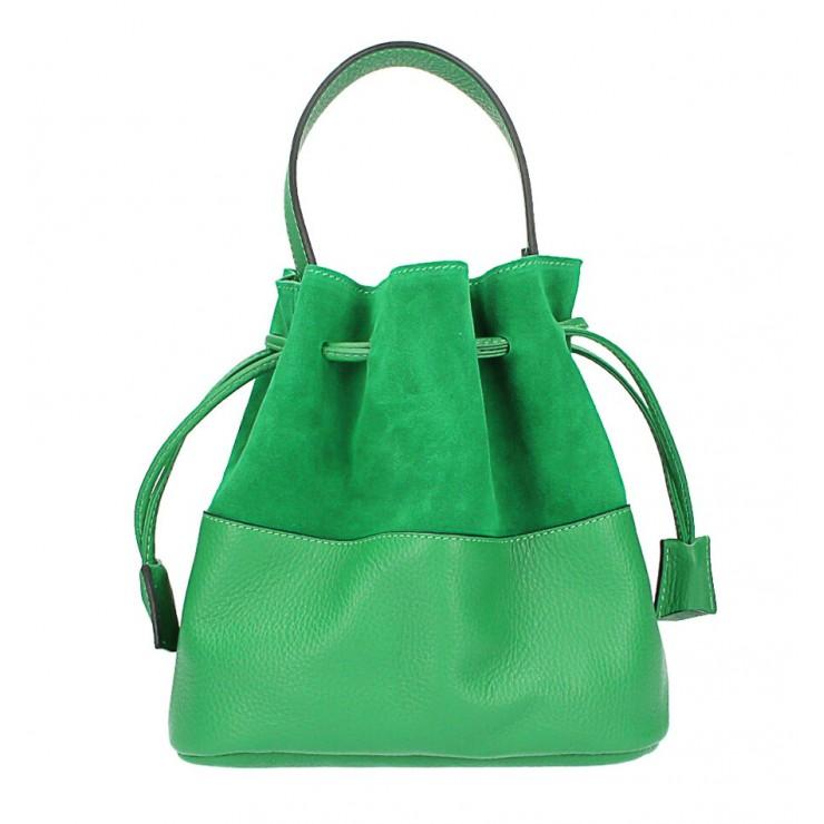 Kožená kabelka ve tvaru pytle 645 zelená Made in Italy