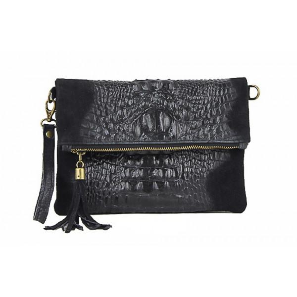 Kožená kabelka krokodíl 630 čierna