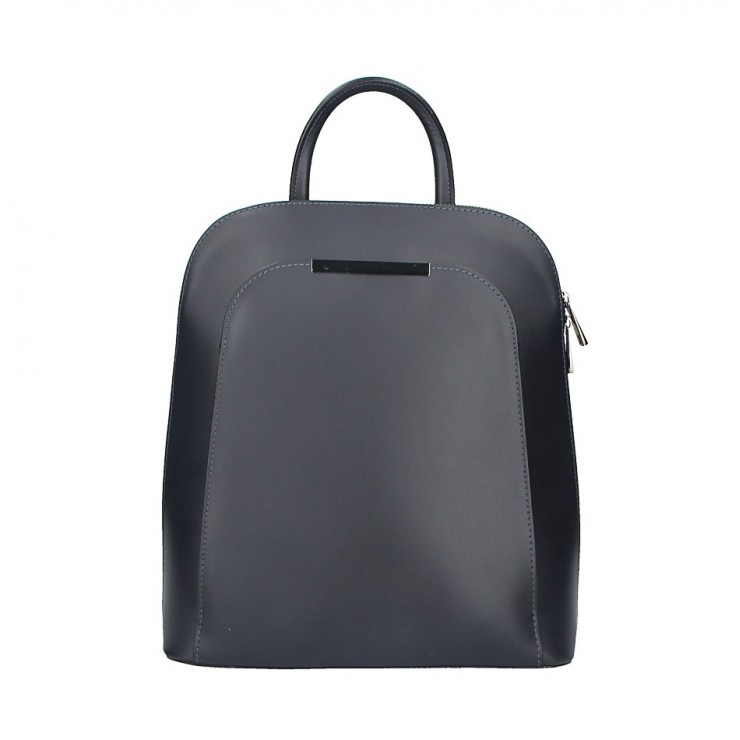 Leather backpack 1488 dark blue Made in Italy