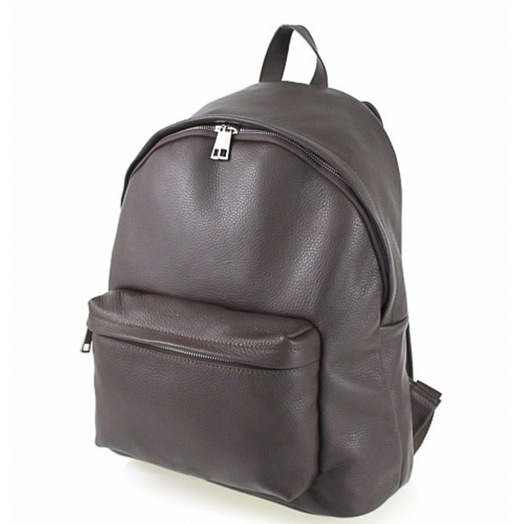 Leather backpack MI410 dark brown Made in Italy