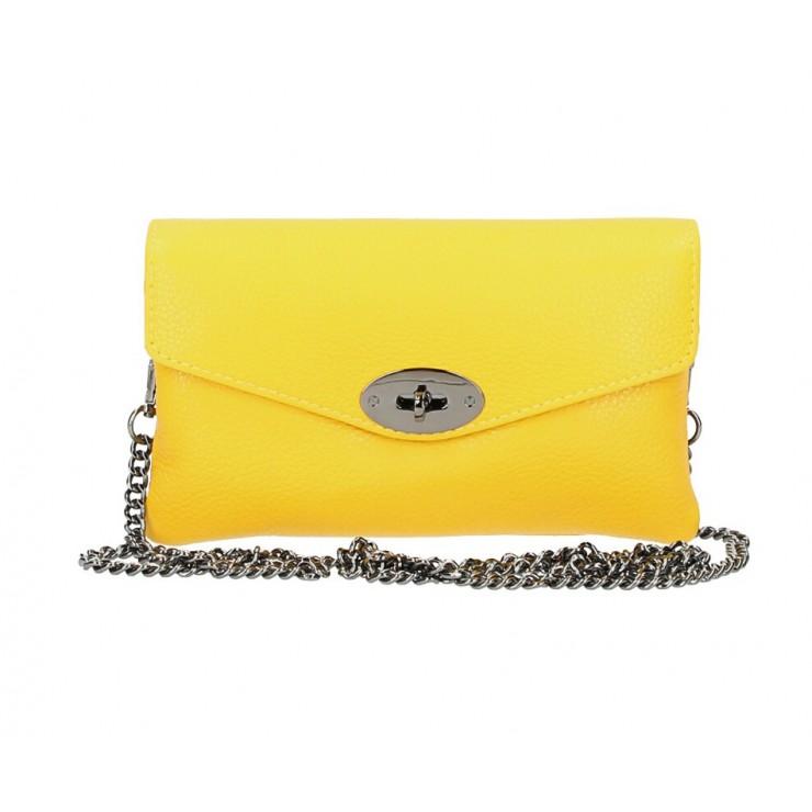 Žltá kožená kabelka na rameno 515
