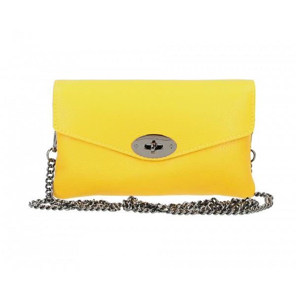 Žltá kožená kabelka na rameno 515 Žltá