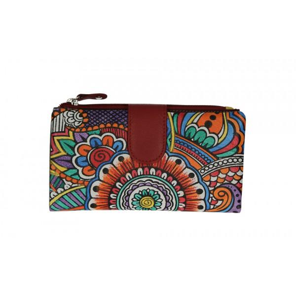 Dámska kožená peňaženka 272 tmavočervená Červená