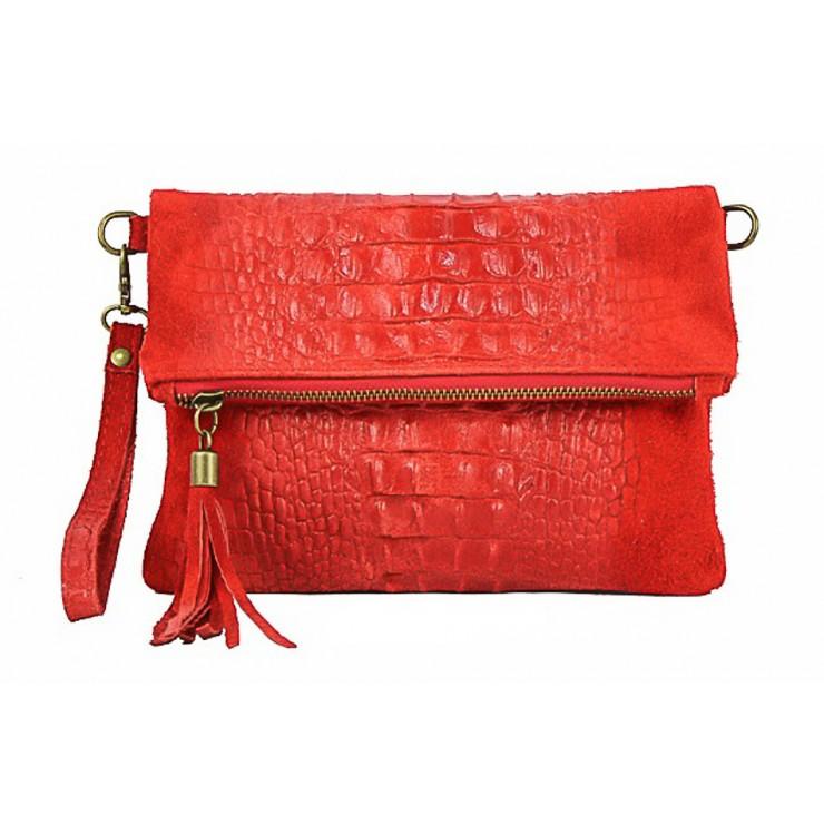 Kožená kabelka krokodíl 630 červená