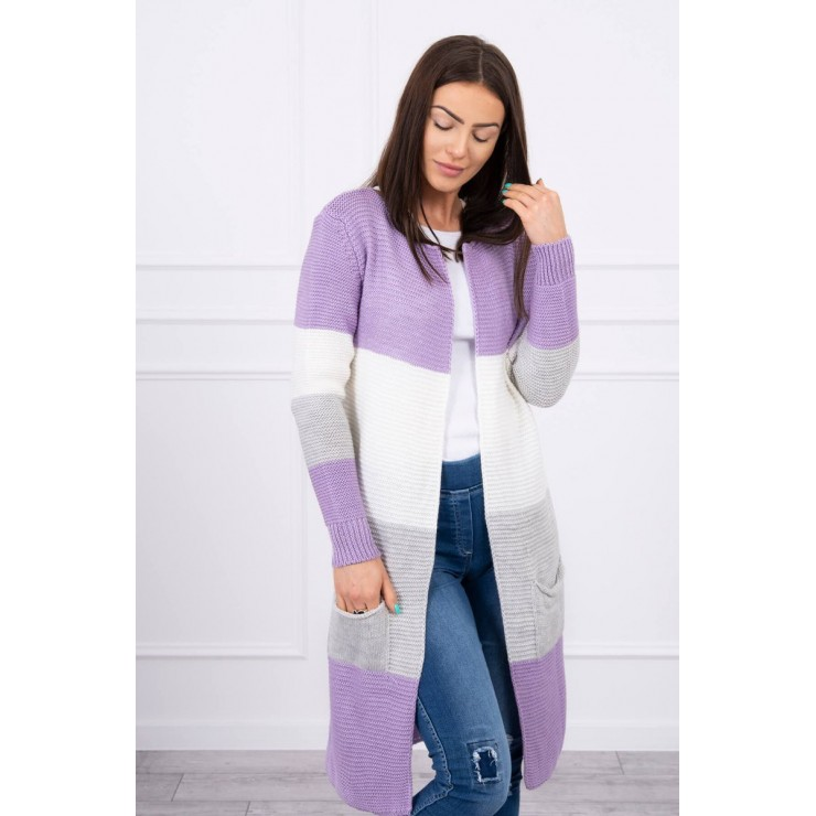 Ladies long sweater with wide stripes MI2019-12 violet