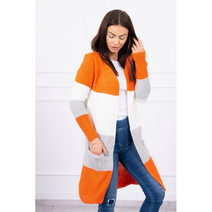 Dámsky sveter so širokými pruhmi  MI2019-12 oranžový