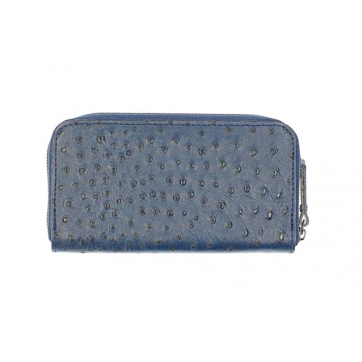 Kožená peňaženka na zips 284 modrá Made in Italy