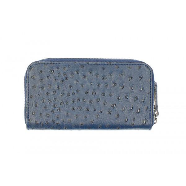 Kožená peňaženka na zips 284 modrá Made in Italy Modrá