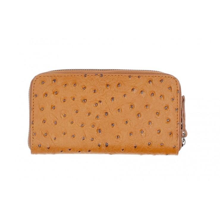 Kožená peňaženka na zips 284 koňak Made in Italy