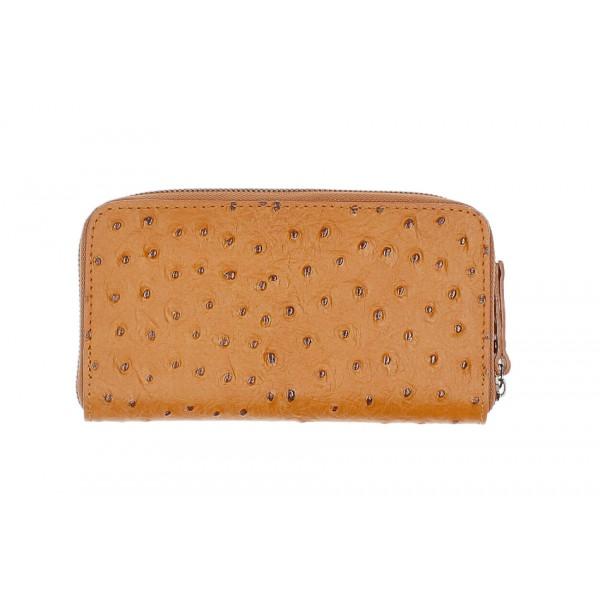 Kožená peňaženka na zips 284 koňak Made in Italy Koňak