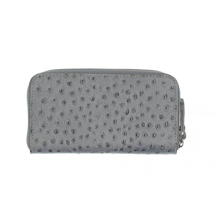 Kožená peňaženka na zips 284 tmavošedá Made in Italy