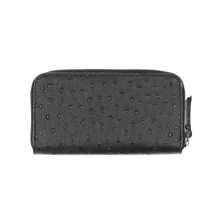 Kožená peňaženka na zips 284 čierna Made in Italy
