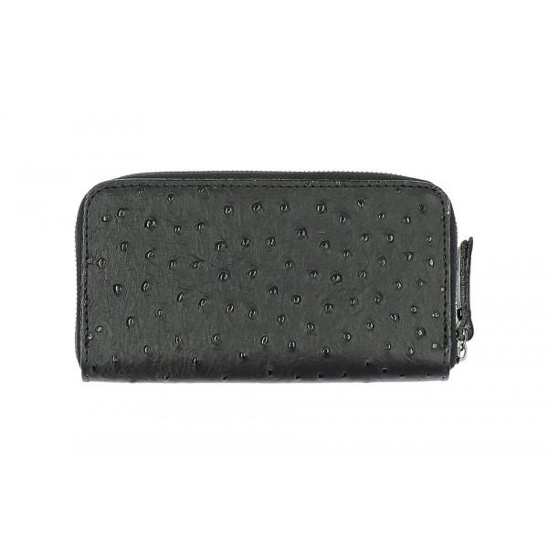 Kožená peňaženka na zips 284 čierna Made in Italy Čierna