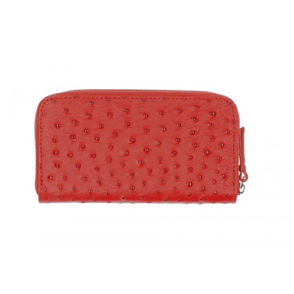 Kožená peňaženka na zips 284 červená Made in Italy Červená