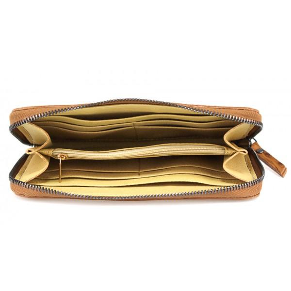 Kožená peňaženka na zips 284 šedohnedá Made in Italy Šedohnedá
