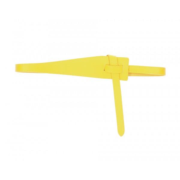 Dámsky kožený opasok 108 žltý Made in Italy Univerzálna Žltá